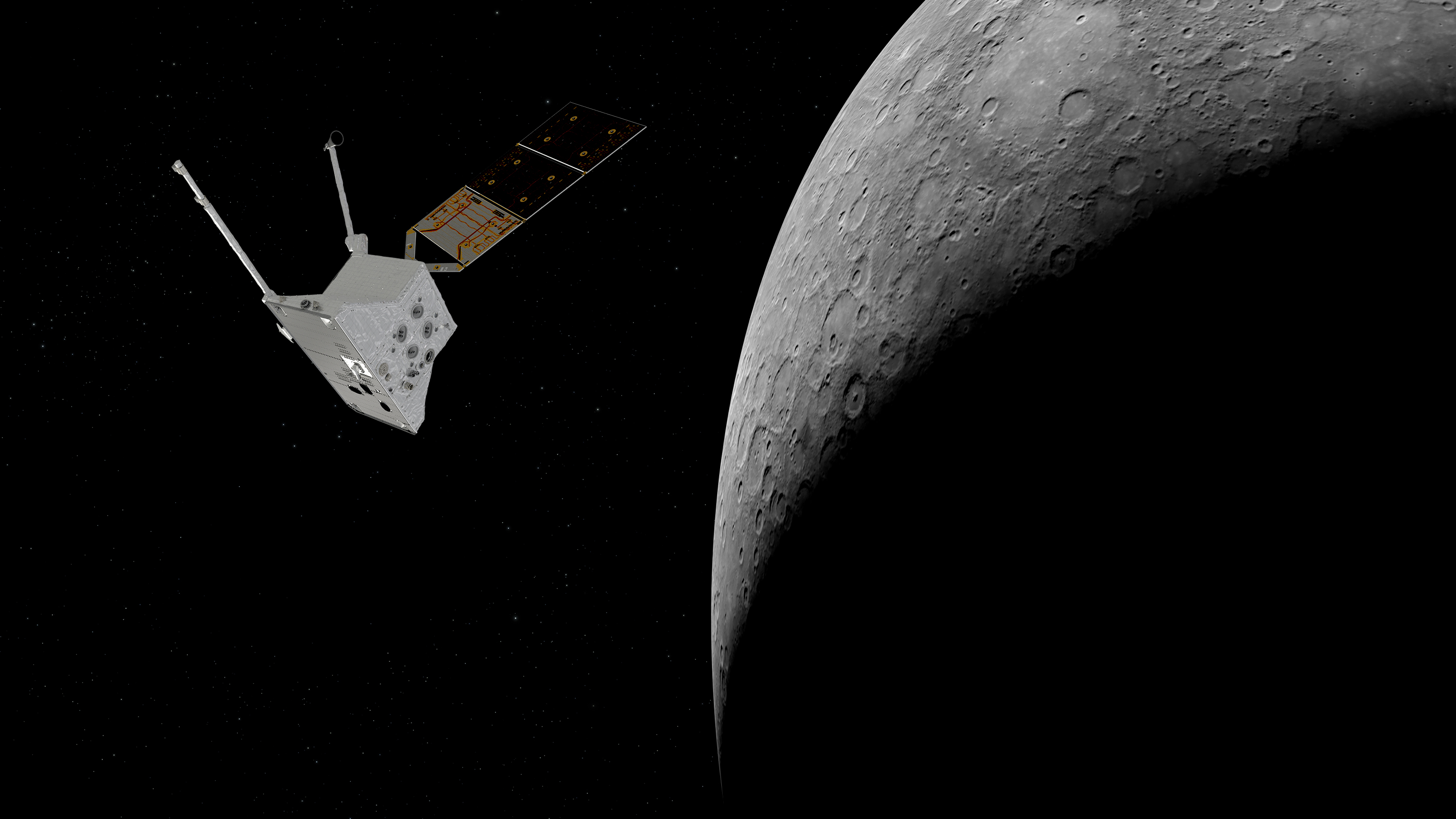 Mercury Planetary Orbiter at Mercury. Copyright spacecraft: ESA/ATG medialab; Mercury: NASA/Johns Hopkins University Applied Physics Laboratory/Carnegie Institution of Washington